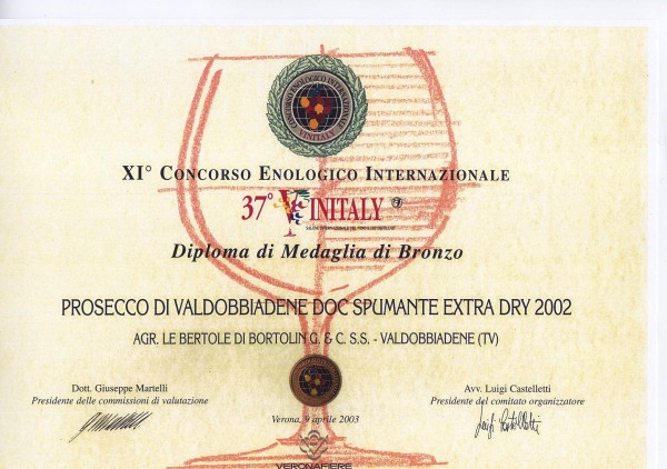 2003 Vinitaly Bronzo Valdobbiadene Doc Extra Dry