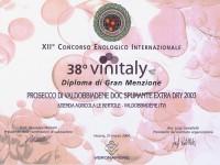 2004 Vinitaly Gran Menzione Valdobbiadene Doc Extra Dry