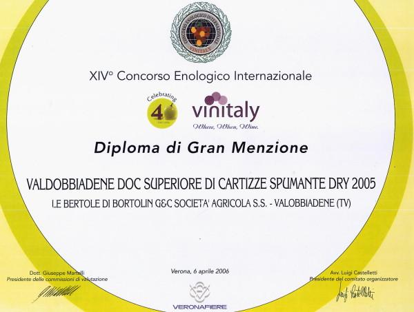 2006 Vinitaly Gran Menzione Valdobbiadene Doc Brut