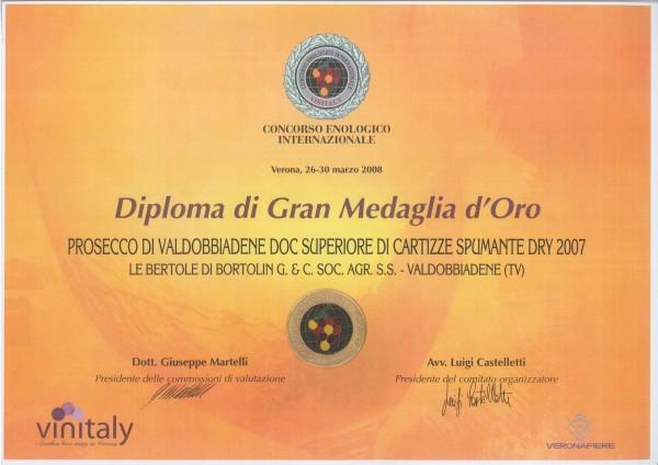 2008 Vinitaly Gran Medaglia Oro Valdobbiadene Doc Cartizze