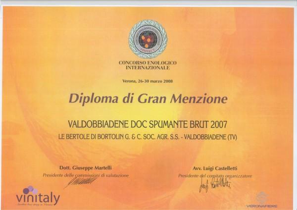 2008 Vinitaly Gran Menzione Valdobbiadene Doc Brut