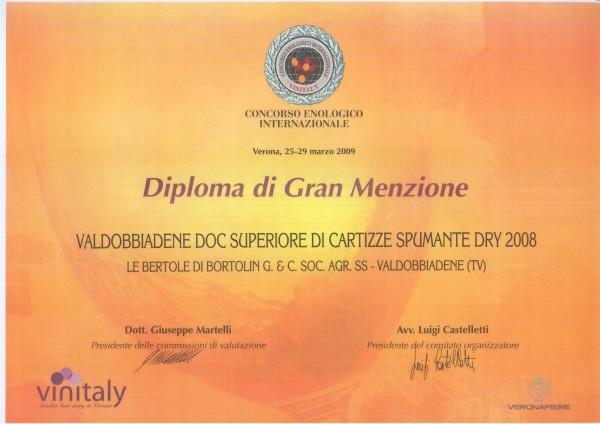 2009 Vinitaly Gran Menzione Valdobbiadene Doc Cartizze