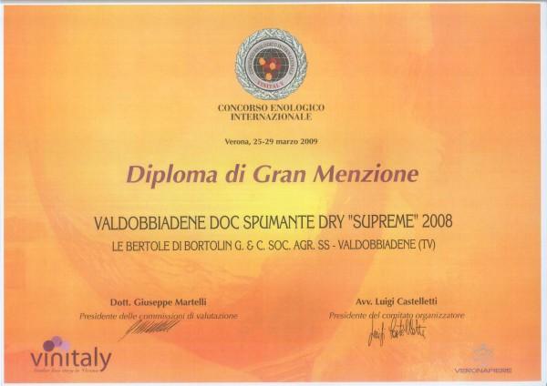 2009 Vinitaly Gran Menzione Valdobbiadene Doc Dry Supreme