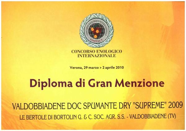 2010 Vinitaly Gran Menzione Valdobbiadene Doc Dry Supreme