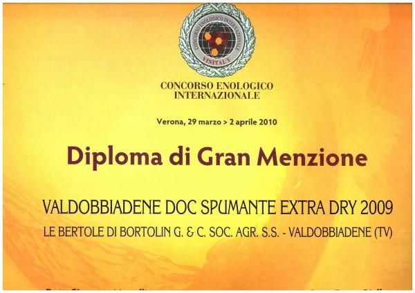 2010 Vinitaly Gran Menzione Valdobbiadene Doc Extra Dry