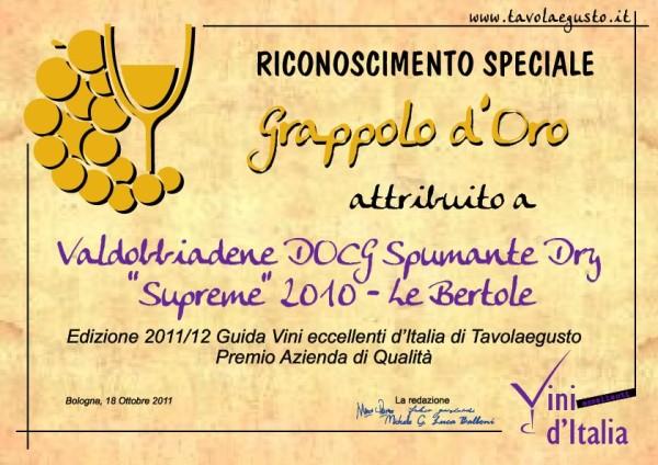 2011 Grappolo Oro Guida Vini Eccellenti Valdobbiadene Docg Dry Supreme
