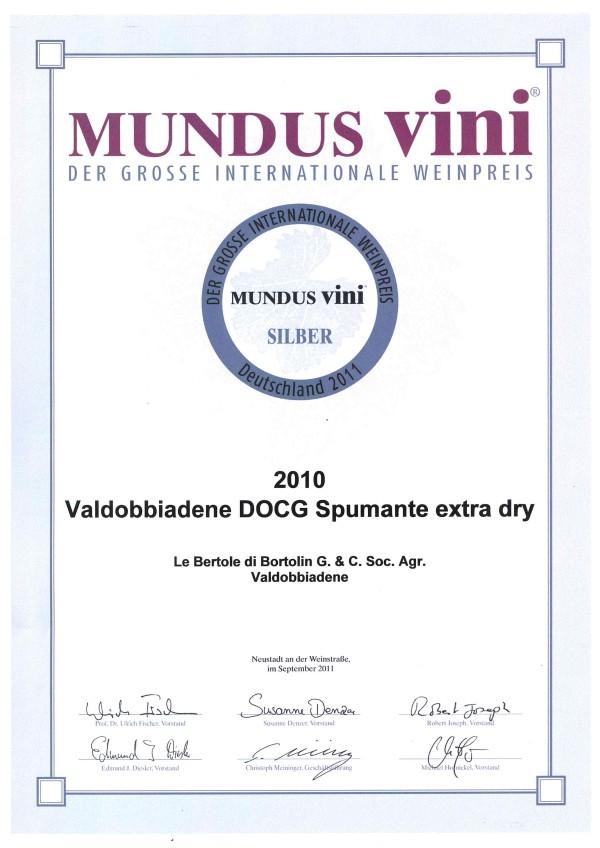 2011 Mundus Vini Argento Valdobbiadene Docg Extra Dry