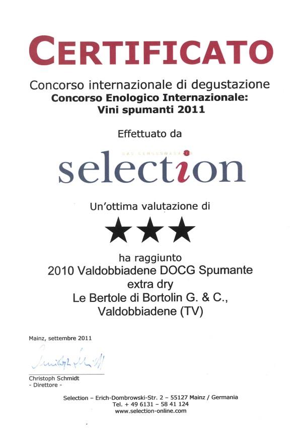 2011 Selection Tre Stelle Valdobbiadene Docg Extra Dry