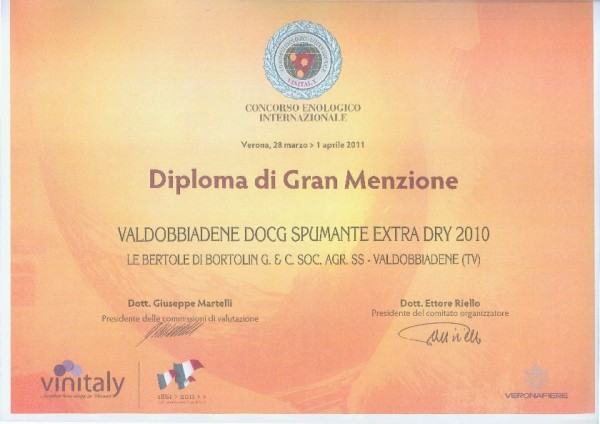 2011 Vinitaly Menzione Valdobbiadene Docg Extra Dry