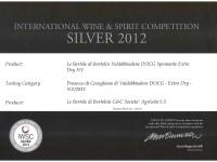 2012 IWSC Argento Valdobbiadene Docg Extra Dry