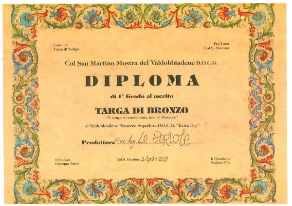 2012 Mostra Col San Martino Bronzo Valdobbiadene Docg Extra Dry