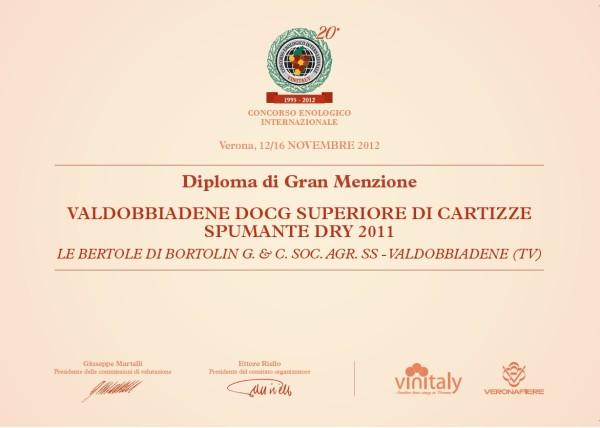 2012 Vinitaly Gran Menzione Valdobbiadene Docg Cartizze