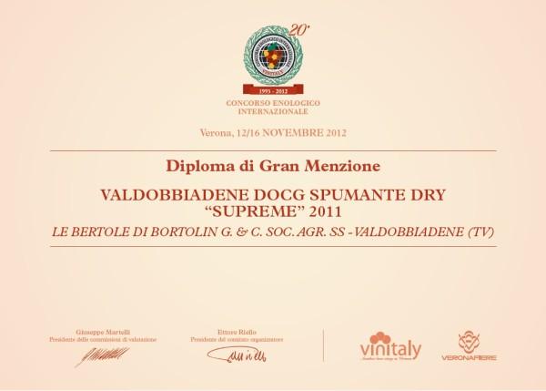 2012 Vinitaly Gran Menzione Valdobbiadene Docg Dry Supreme