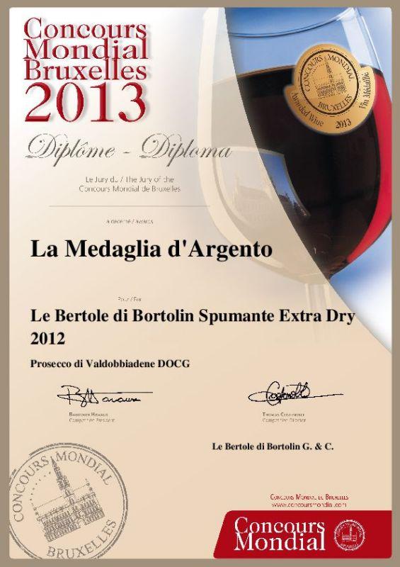 2013 Concours Mondial Bruxelles Argento Valdobbiadene Docg Extra Dry