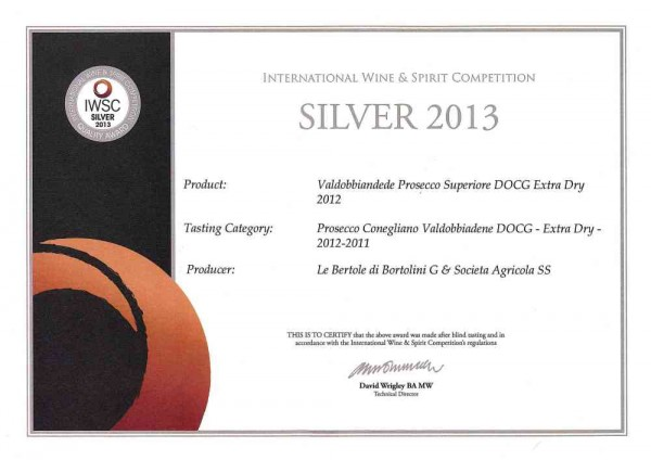 2013 IWSC International Wine Competition Valdobbiadene Docg Extra Dry