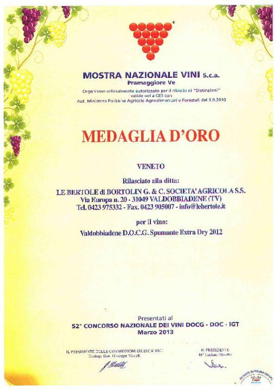 2013 Mostra Nazionale Vini Pramaggiore Valdobbiadene Docg Extra Dry