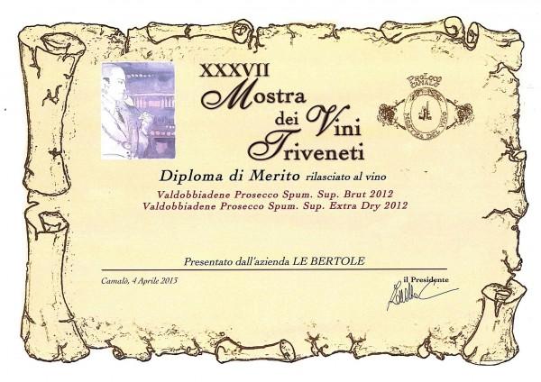 2014 Mostra Vini Triveneti Merito Valdobbiadene Docg Brut Extra Dry