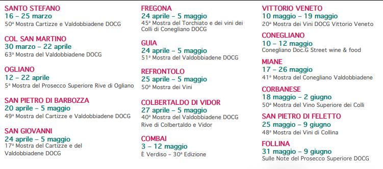 Calendario completo mostra del prosecco 2019-Le Bertole